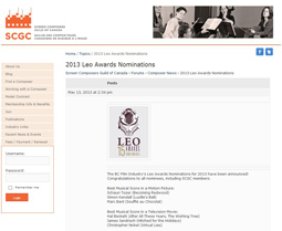 The BC Film Industry's Leo Awards Nominations for 2013 have been announced!