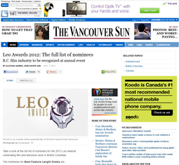 The Vancouver Sun, Leo Awards Nominees