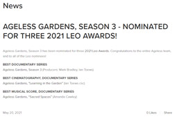 AGELESS GARDENS, SEASON 3 - NOMINATED FOR THREE 2021 LEO AWARDS!